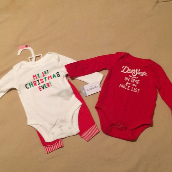 40d85701c0c83 Carter's and Cat and Jack One Pieces | Lot Of 2 Newborn Christmas ...